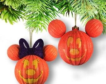 Set of (2) Large Mickey & Minnie Pumpkin Halloween Ornament Set