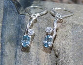 Genuine Blue Zircon in Solid 925 Sterling Silver Dangle Earrings - ER041