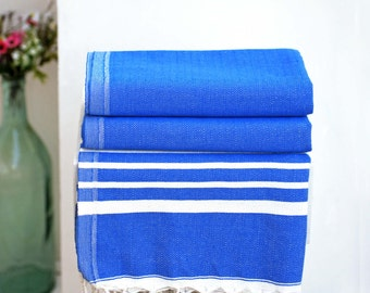 Navy Turkish Peshtemal Towel   %100 Turkish Cotton Beach Towel
