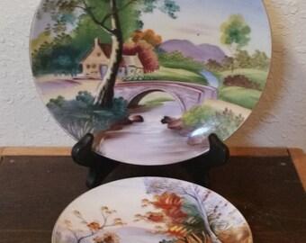 ucagco hand painted plate set/plate set/ucagco plates/ucagco/hand painted plates/collectible plated/vintage ucagco/vintage painted plate