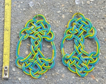Large Recycled Telephone Wire Knotwork Earrings