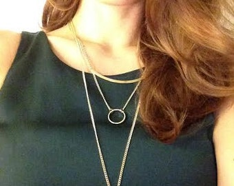 Simple layered gold necklace