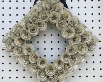 "9 1/2"" Square Book Page Wreath"