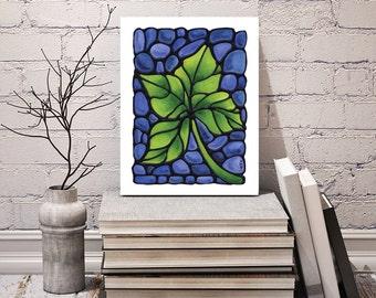 Green Leaf Print - Bedroom Art Decor - Nature Artwork - Tree Leaf Image - Home Decor - Art Print 8 x 10 inch - Signed by Artist Kathy Lycka
