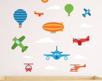 Airplanes Wall Decal, Sky Vehicles Wall Decal, Airplane Wall Decal, Airplane Decal, Helicopter Wall Decal, Air Balloons Decal, Plane Decal