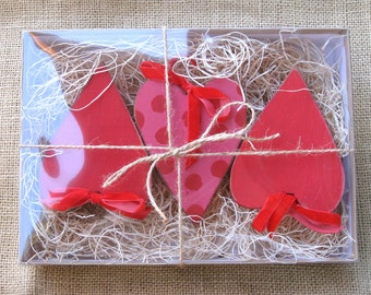 Heart Ornament Set, Assortment of Wooden Heart Ornaments for Valentine's Day or Christmas