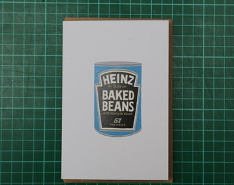 Heinz Baked Beans Tin Illustration A6 Greeting Card
