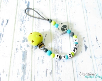 Wooden pacifer clip, wood beads ,3d character, pacifier clip , baby gift, gift baby boy
