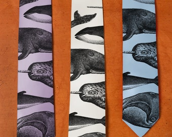 Whale Print Tie - SILK Necktie - Whale Art - Humpback Whale - Narwhal - Creative Gifts - Narwhale - Men's Cravat - Whale Tie - Different