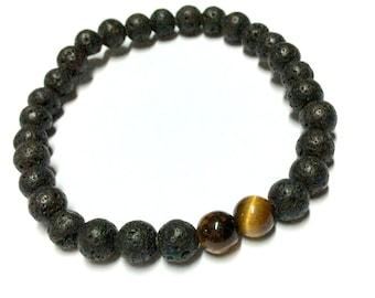 Genuine Tiger Eye, Lava Stone Yoga Mala Bracelet - Natural Spirited Stones Bracelet - Healing Stones Bracelet - Stretch Bracelet - Handmade
