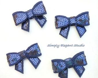 Blue Sequin Bows,  5 Small Shiny Bows, Headband Bows, DIY Supply Bows, Baby Bows, Wholesale Bows