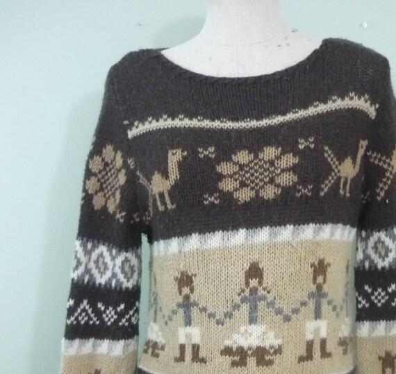 1990s Peruvian Inspired Alpaca Sweater / Primitive Patterned Wool Knit / Neutral Tone Boho Top / Modern Size Medium