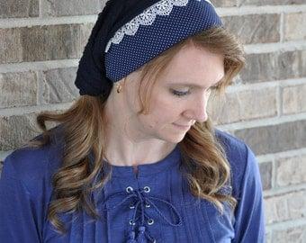 Women's Navy Blue Lace Head Covering, headcovering, head scarf, headscarf, mitpachat, bandana, veil, half head tichel, hair scarf, headband,