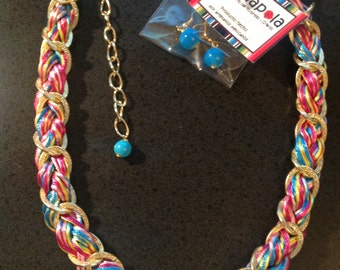 Amapola Neon Braided Cords with Gold Chain Necklace