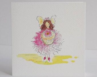 Fairy Card, Fairy Cupcake Birthday Card, fairy birthday card