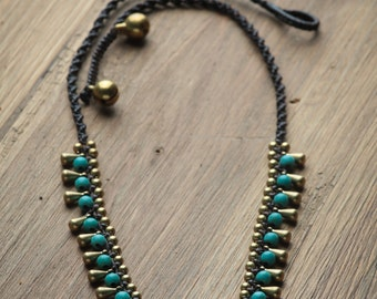 Turquoise Statement Necklace // Turquoise Necklace // Boho Women Necklace // Brass and Turquoise Necklace
