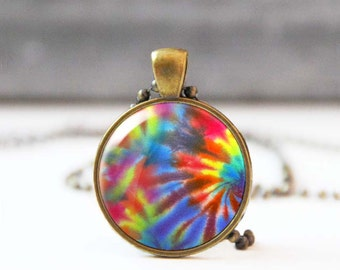 Hippie necklace, Tie dye pendant necklace, Bohemian jewelry, Colorful photo necklace, 60s retro necklace, psychedelic necklace, 5059-7
