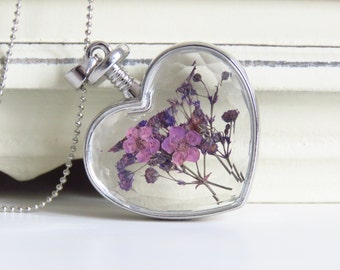 Heart glass pendant necklace full of flowers lilac, dried, Valentine gift,Vintage necklace, girlfriend gift