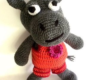 Hippo, MADE TO ORDER, soft toy, crochet toy
