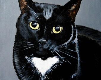 Personalized Cat Portrait | black cat art  | acrylic | canvas cat art | memorial pet | gift | pet lovers | commissioned art | cat art