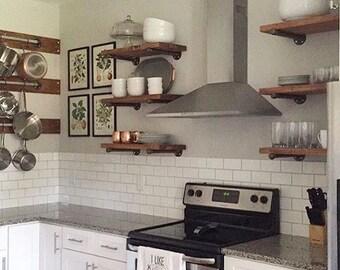 "Set of 3 - 12"" Depth Open Kitchen Shelves, Industrial Pipe Shelving"