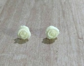 Ivory Rose studs - nickel free -hypoallergenic earrings - white rosette earrings - bridesmaid gifts - thank you gift
