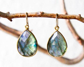 14k Gold Labradorite Crystal Semi Precious Stone Bezel & Gold Filled Dangle Drop Teardrop Earrings - Chakra Balancing Jewelry