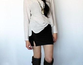 Stretch Knit Miniskirt in Black