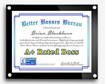 Funny Bosses Day Gift, Best Boss Award, Boss's Day Gift, Best Boss Gift, Gift for Boss, Awesome Certificate, Boss Lady, Digital Print