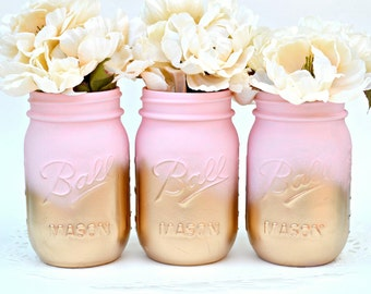 Mason Jars Bulk, Painted Jars, Mason Jars, Pink Jars, Gold Jars, Wedding Centerpiece, Dorm Decor, Chic Centerpiece, Baby Shower Decor, Jars