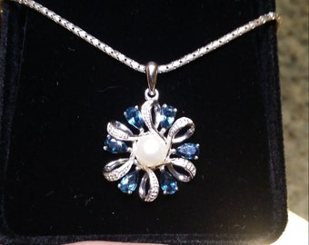 Sterling Silver Swiss Blue Topaz & Pearl Necklace