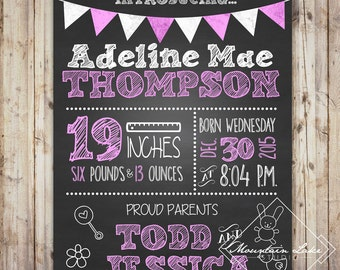 Baby Girl Newborn Announcement Chalkboard Poster | Photo Props | Customized Printable File |