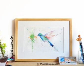 Aquarelle originale - Colibri en vol - Peinture naturaliste-oiseau-Art animalier-décoration champêtre -éxotique-cadeau original-anniversaire