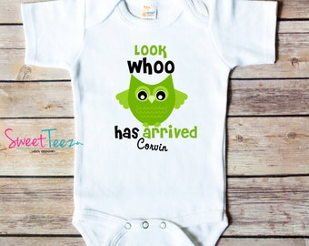 Look whoo's arrived PErsonalized Baby Owl Shirt Funny Baby Bodysuit
