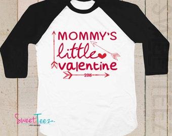 Valentine's Day Boy Shirt Mommy's little Valentine Arrow shirt Black Raglan 3/4th Sleeve Shirt Baby Toddler Youth Shirt