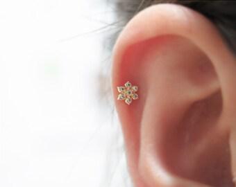 10K/14K Solid Gold piercing / Flower  Piercing / Helix piercing / cartilage earring / Tragus piercing /Delicate ear piercing/Flower piercing