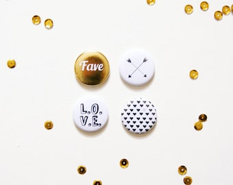 "Button set ""Love"", set of 4, gold"