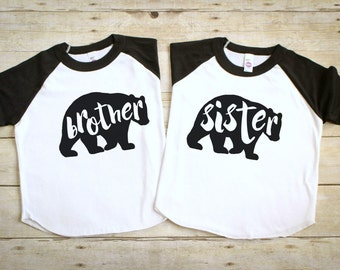 Funny Sibling Shirts - Twin Shirts - Brother Sister Shirts - Funny Kid's Shirts - Brother Sister Bear Shirts - Twin Boy Girl Shirts Set