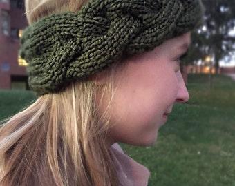 Cable Knit Winter Headband - Green
