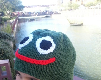 Knitted Frog Hats, Green, Beanies for Kids, Children's Hats