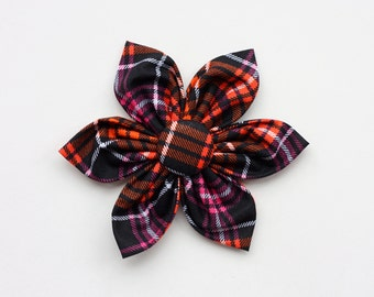 Halloween Plaid Dog Collar Flower