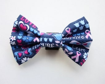 Breast Cancer Awareness Dog Bow Tie - Pink Ribbon Dog Bow Tie