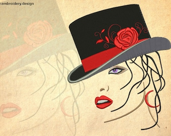 Femme fatale embroidery design - downloadable - 4 sizes