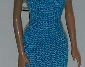Crochet Barbie Dress, Fashion Doll Crocheted Clothing, Handmade Barbie Clothes,  Light Blue Prom Dress for Barbie