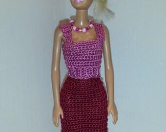 Crochet Barbie Dress, Fashion Doll Crocheted Clothing, Handmade Barbie Clothes,  A Day At The Fair