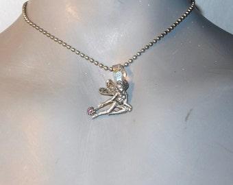 Magic Fairy Wand/Crystal PENDANT Chain Silvertone/Multi-Color/Iridescent Necklace