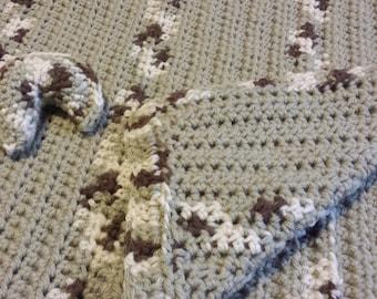 Cat Blanket: Khaki / Neutral Stripe