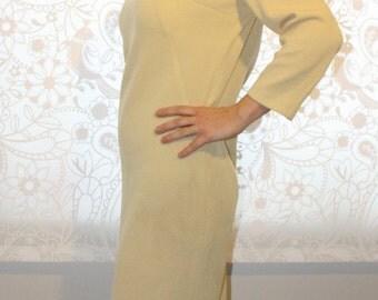 1970's Unique Elegant  Butter White Dress
