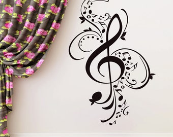 Treble Clef Wall Decals Music Notes Vinyl Sticker Musical Patterns Vinyl Decal Room Bedroom Home Studio Decor FD56