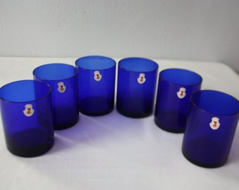 Set of 6 COBALT Blue Vintage Tumbler Glasses *LE NINFE Crystal Glass Hand Made* 16 ounce